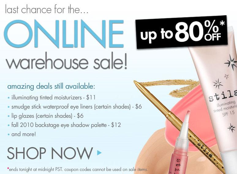 Stila's Online Warehouse Sale
